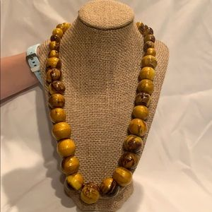 Yellow wood bead necklace
